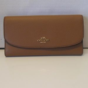 NWT Coach Pebbled Leather Wallet F16613 in Saddle